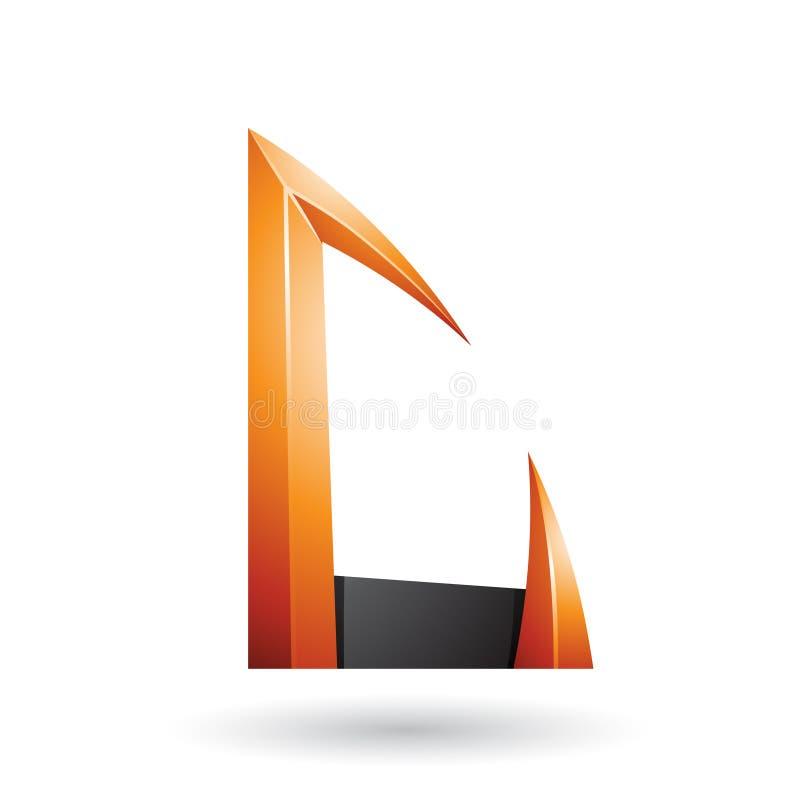 Seta alaranjada e preta a letra dada forma C isolou-se em um fundo branco ilustração royalty free