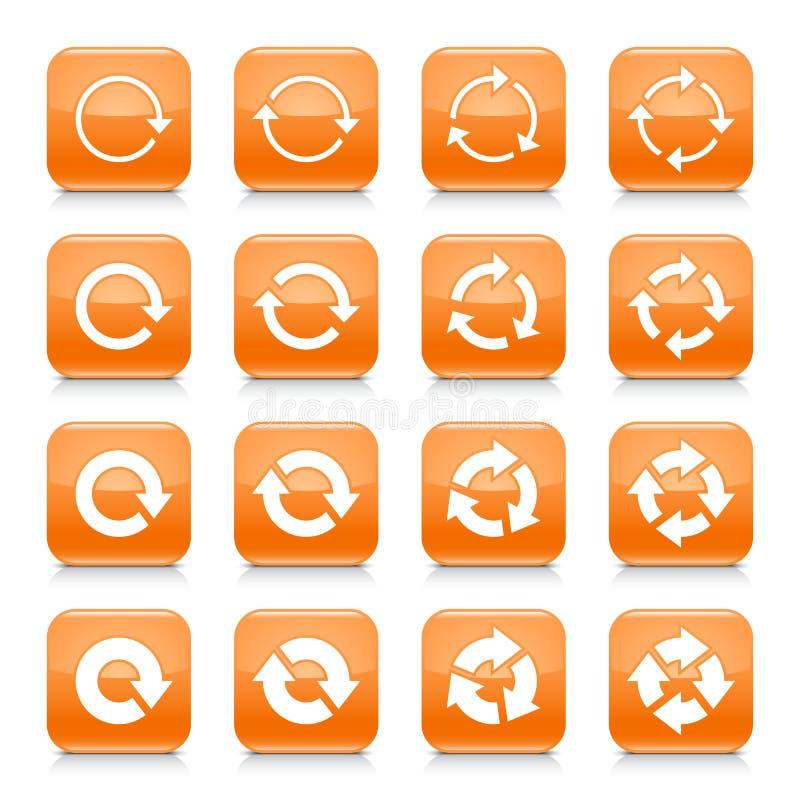 A seta alaranjada restaurou o botão quadrado da Web do ícone do sinal ilustração do vetor