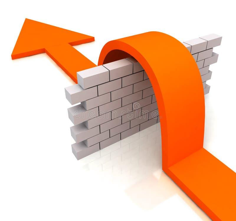 A seta alaranjada sobre meios da parede supera obstáculos ilustração stock