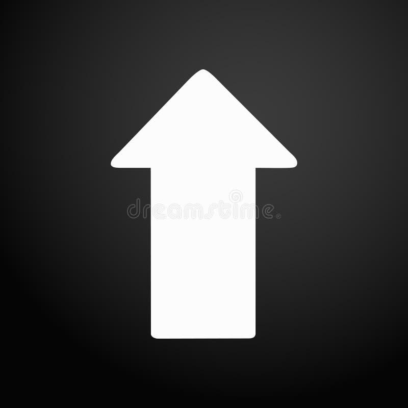 Seta ascendente branca do ícone - ilustração do vetor isolada no botão quadrado liso ilustração royalty free
