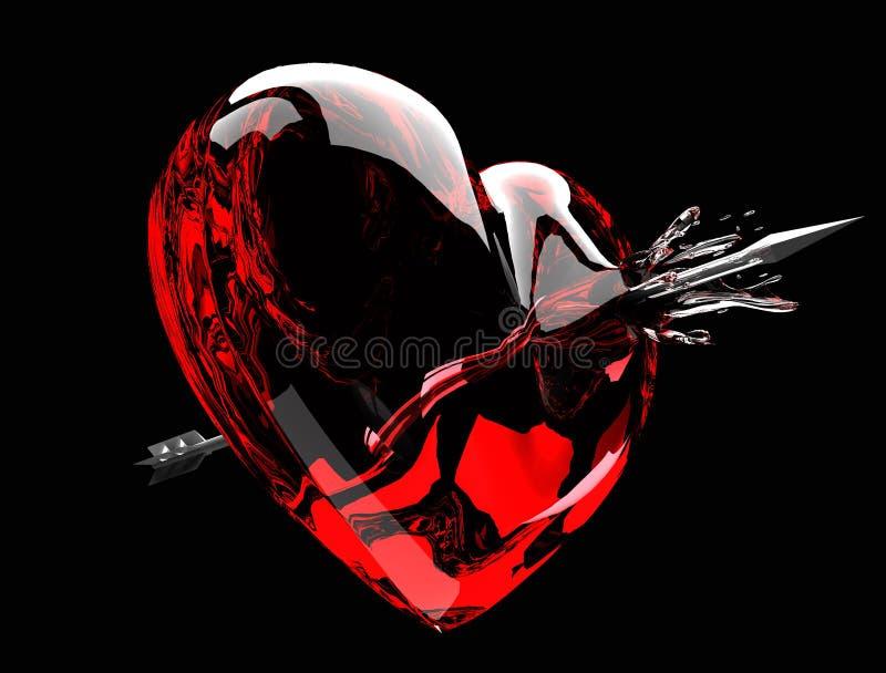 Seta através do coração ilustração stock