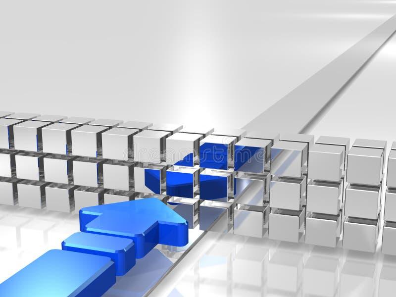 A seta azul é impedida por obstáculos. ilustração royalty free