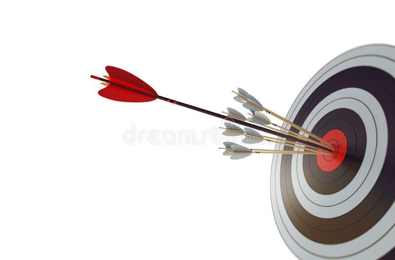 A seta bateu o centro do alvo Conceito da realização do alvo do negócio Isolado no fundo branco rendição 3d ilustração royalty free