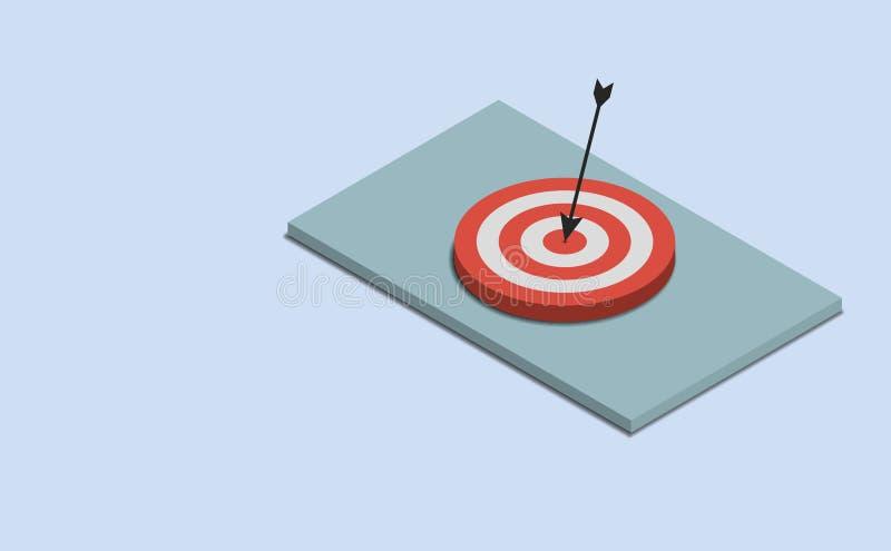 A seta bateu a opinião 3d superior isométrica do conceito do objetivo do sucesso do alvo ilustração stock