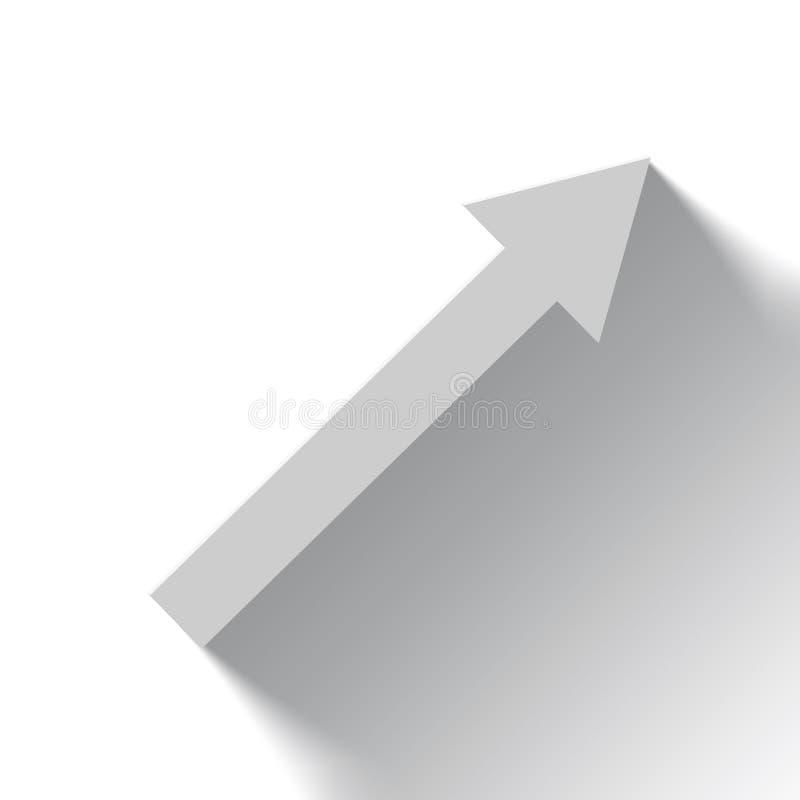 Seta branca de aumentação no fundo branco com sombra ilustração stock