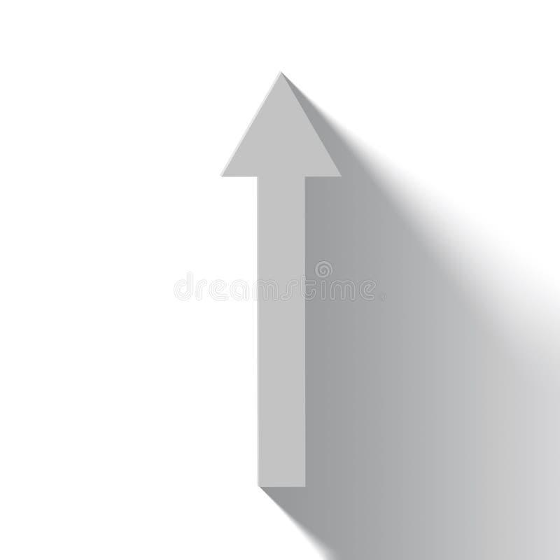 Seta branca de aumentação no fundo branco com sombra ilustração royalty free