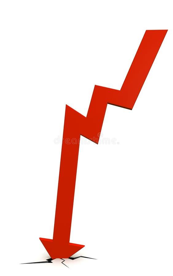 A seta cai causou um crash para baixo o assoalho ilustração stock