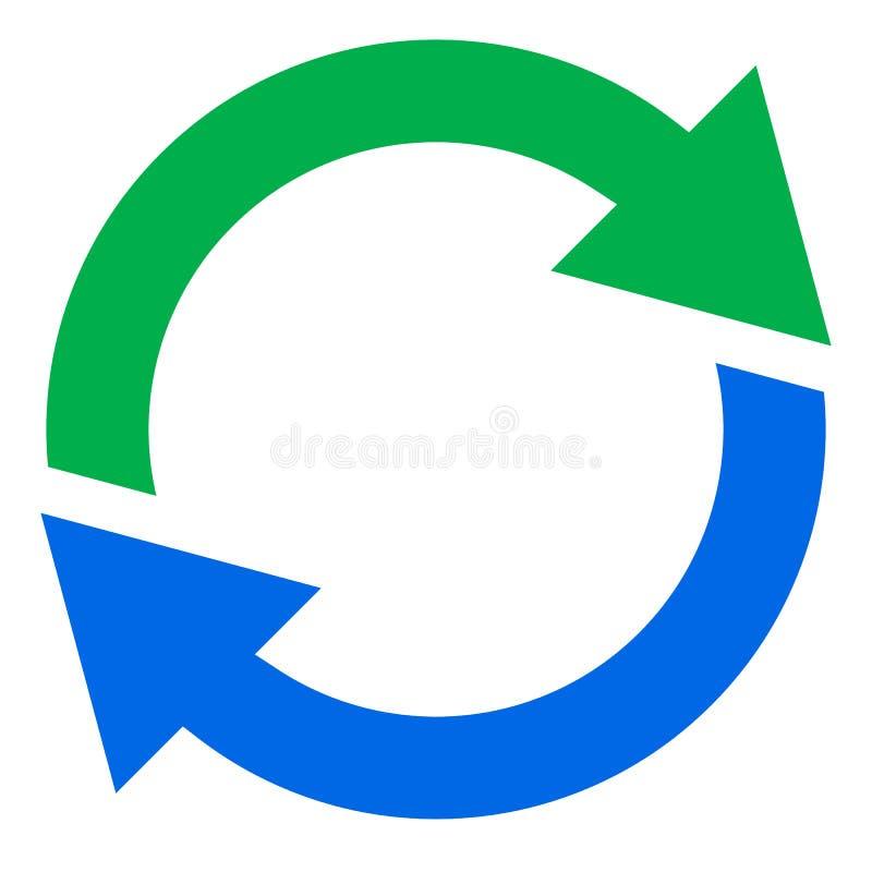 Seta circular, ícone da seta do círculo Rotação, reinício, torção, tur ilustração royalty free