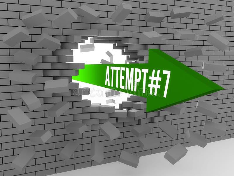Seta com a palavra Attempt#7 que quebra a parede de tijolo. ilustração stock