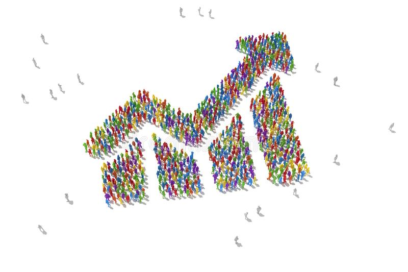 Seta com povos da estatística ilustração stock