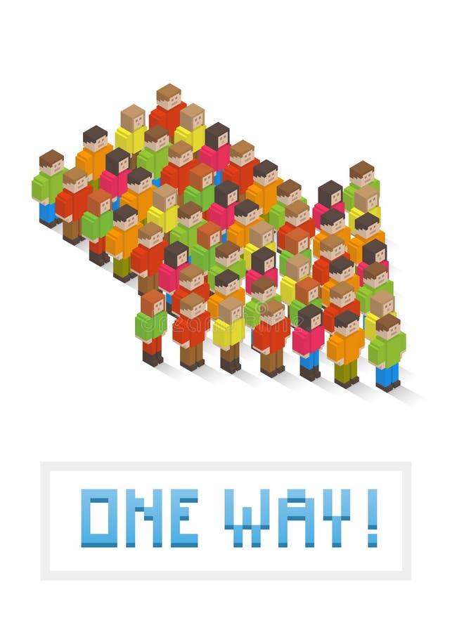 Seta composta de povos isométricos da arte do pixel ilustração do vetor