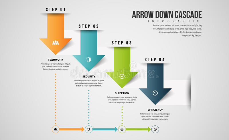 A seta conecta para baixo Infographic ilustração do vetor