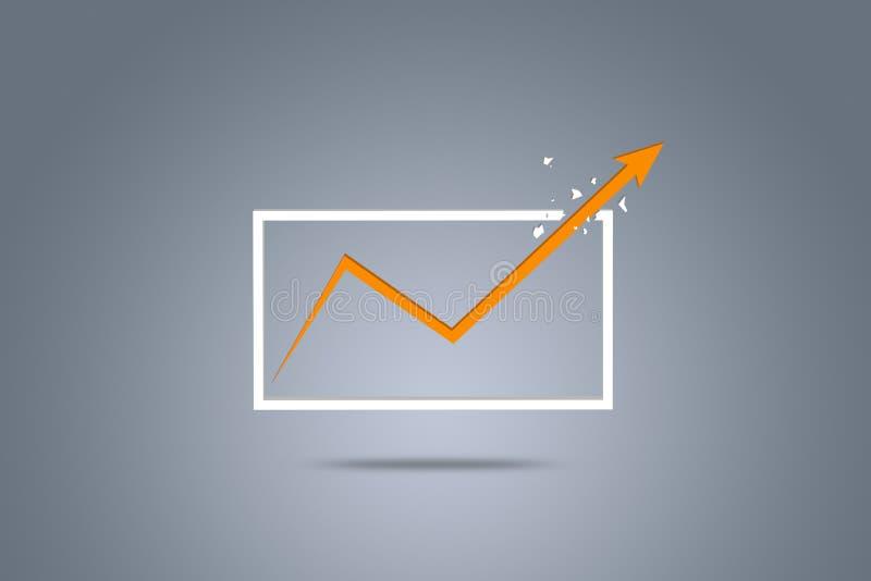 A seta cresce acima, representando o crescimento do negócio ilustração stock