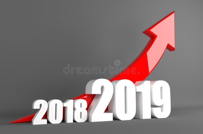 Seta 2019 - crescimento do neg?cio do ano ilustração royalty free