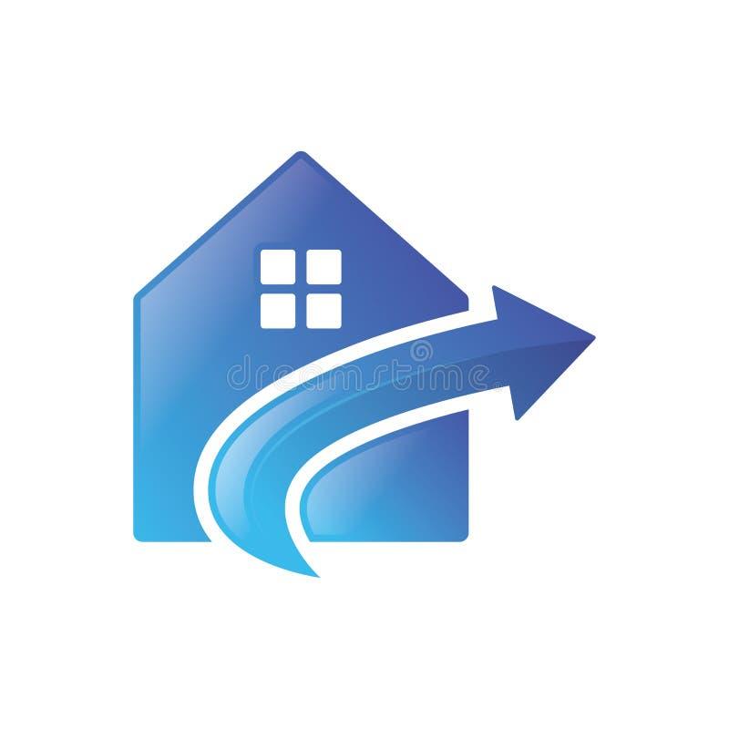 Seta da casa acima do vetor do logotipo ilustração do vetor