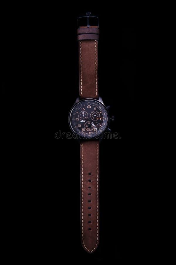 Seta da expedição do relógio com a correia de couro marrom imagem de stock