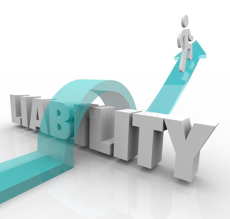 Seta da palavra da responsabilidade 3d que salta sobre o problema Responsibilit legal ilustração royalty free