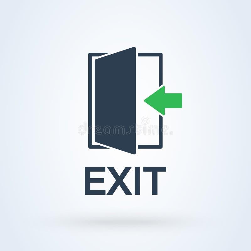 Seta da porta de saída Vetor da saída e do ícone da emergência ilustração royalty free