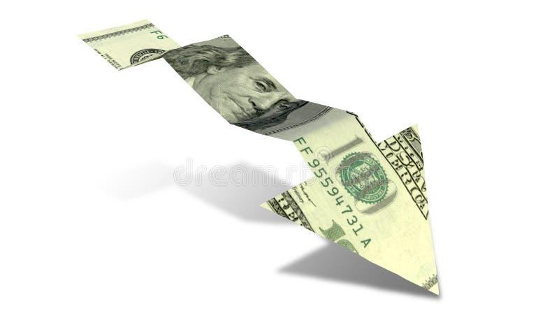 Seta da tendência descendente da cédula do dólar ilustração royalty free