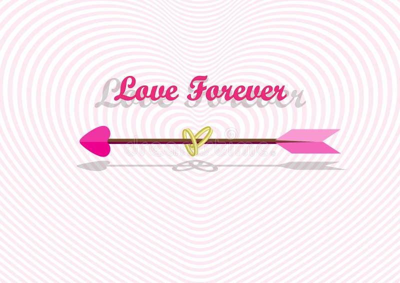 Seta de amor no túnel do coração ilustração stock