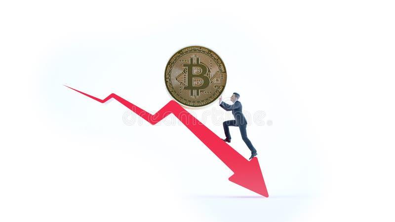 Seta de Bitcoin para baixo para o valor e o homem de negócios de aumento ilustração do vetor