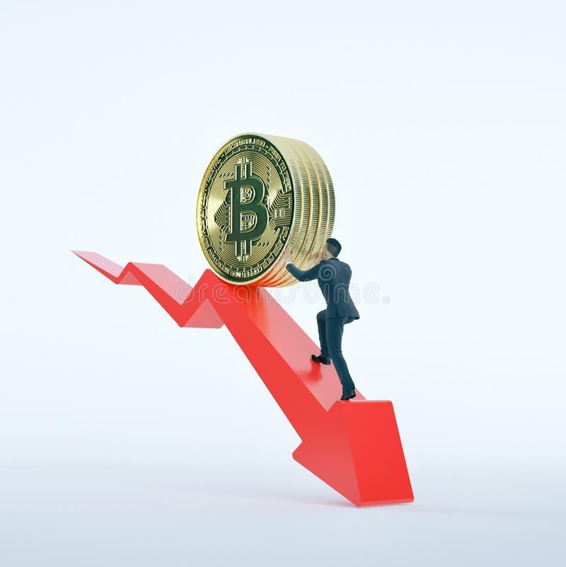Seta de Bitcoin para baixo para o valor e o homem de negócios da diminuição ilustração stock