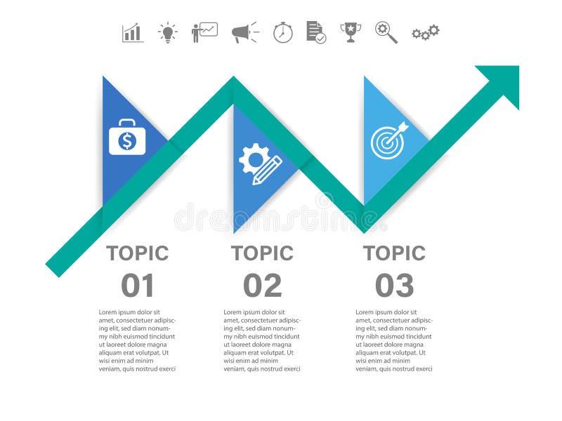 Seta de 3 etapas infographic ilustração stock
