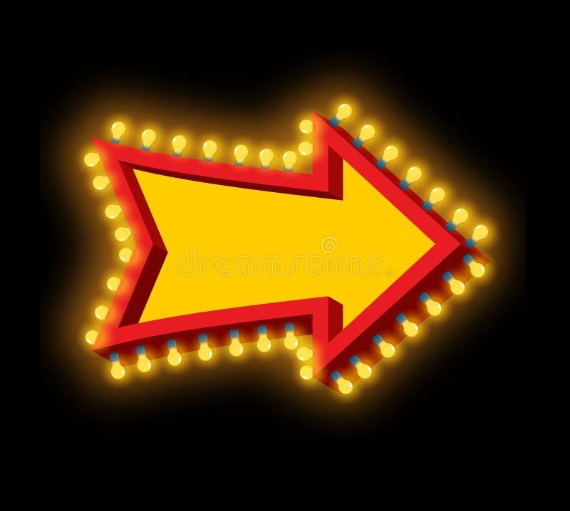 Seta de incandescência com lâmpadas Ponteiro luminoso Cursor retro com li ilustração stock