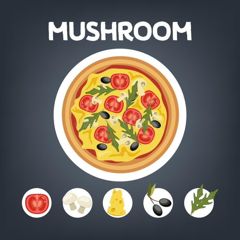 Seta de la pizza sin la carne Comida vegetariana italiana libre illustration