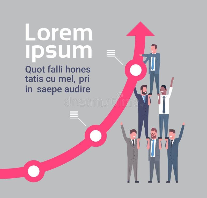 Seta de Team Of Businesspeople Hold Financial que cresce acima o conceito do sucesso e dos trabalhos de equipa ilustração do vetor