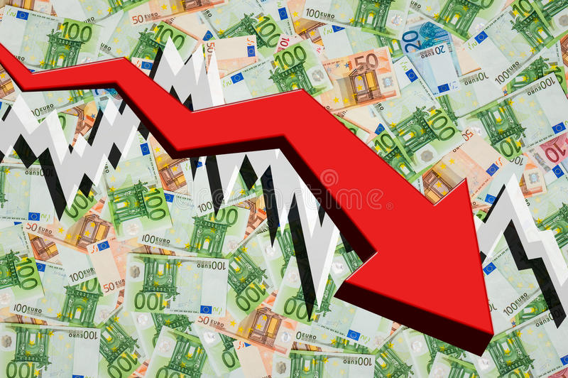 Seta deixando cair com euro- fundo do dinheiro ilustração royalty free