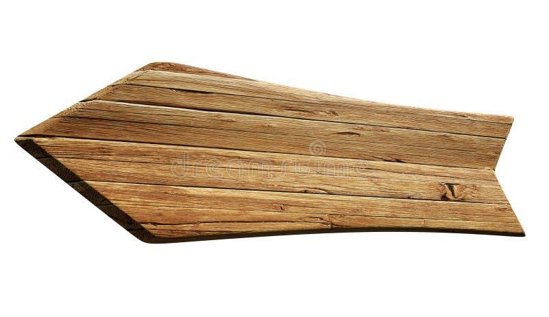 A seta deu forma ao fundo da placa do sinal de propaganda com textura de madeira isolado no branco, rendição 3D ilustração do vetor