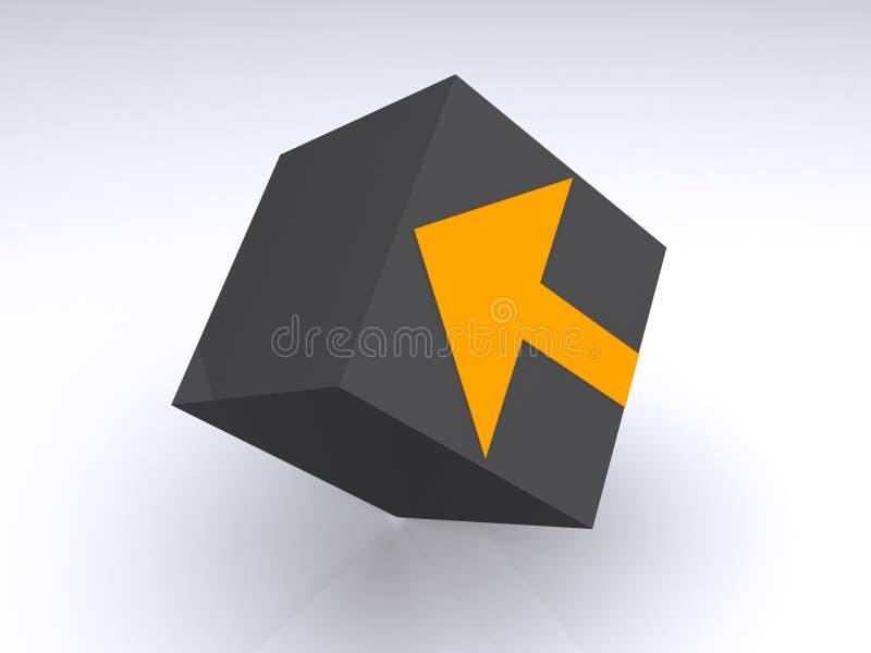 Seta direcional no cubo ilustração royalty free