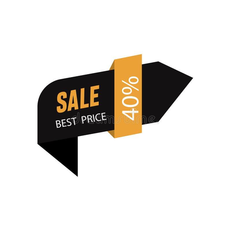 Seta direita preta com cor marrom Projeto do molde da bandeira da venda de 40% Oferta especial da venda grande Bandeira da oferta ilustração royalty free