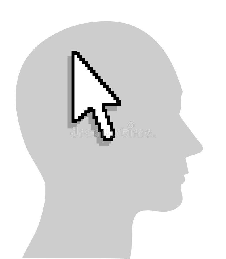 Seta do computador na cabeça humana ilustração royalty free