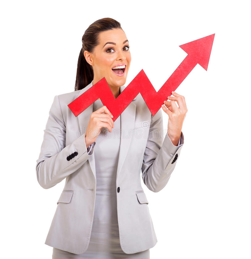 Seta do crescimento da mulher de negócios imagem de stock royalty free