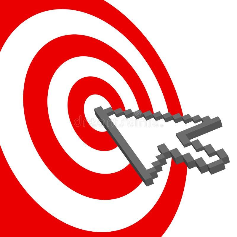 A seta do cursor aponta para selecionar o bullseye vermelho do alvo ilustração royalty free