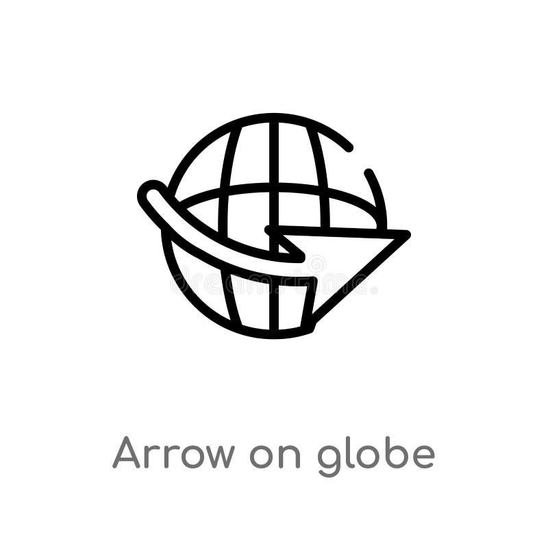 seta do esboço no ícone do vetor do globo linha simples preta isolada ilustração do elemento dos mapas e do conceito das bandeira ilustração royalty free