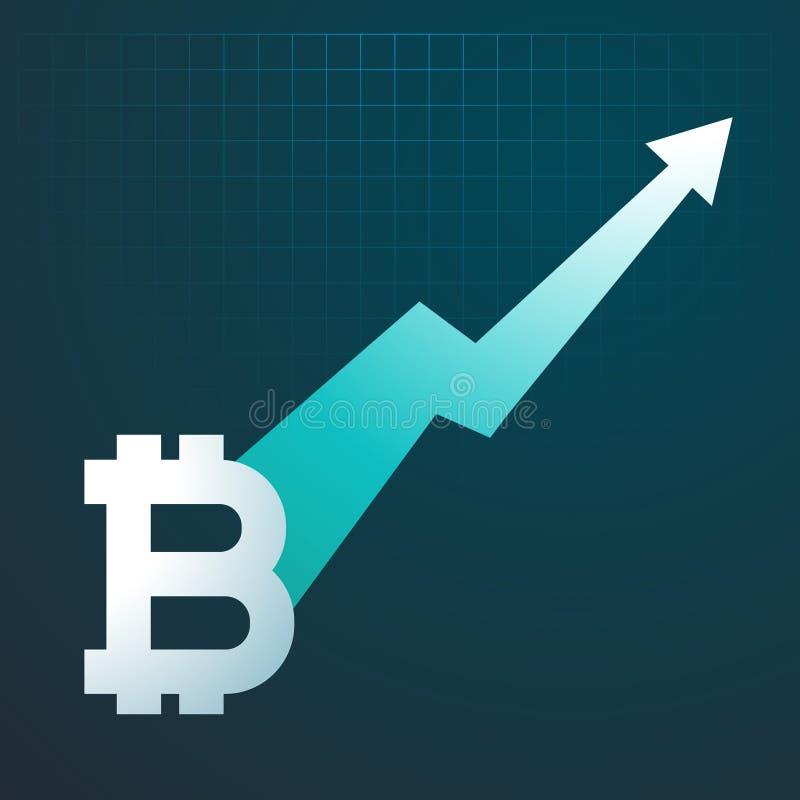 Seta do gráfico da tendência ascendente de Bitcoins que aumenta acima ilustração do vetor