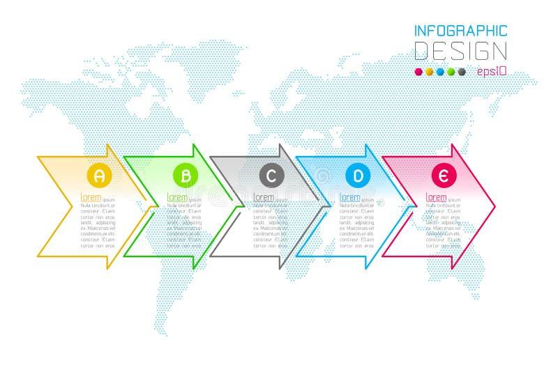 A seta do negócio etiqueta a forma grupos infographic barra ilustração stock