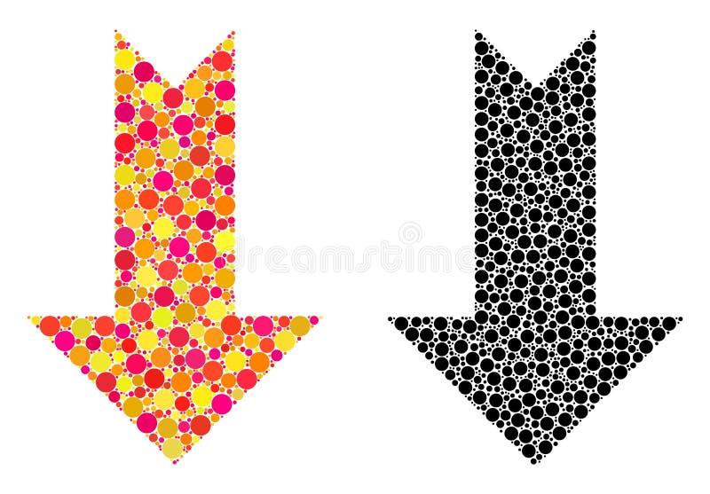 Seta do pixel abaixo dos ícones do mosaico ilustração royalty free