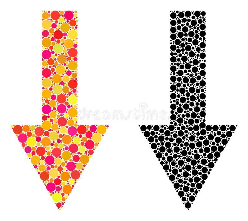 Seta do pixel abaixo dos ícones do mosaico ilustração stock