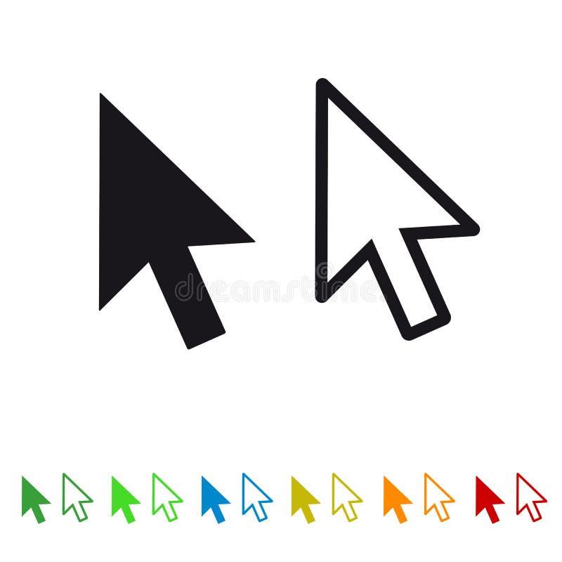 Seta do ponteiro do clique do rato do computador - ícone liso para Apps e Web site ilustração royalty free