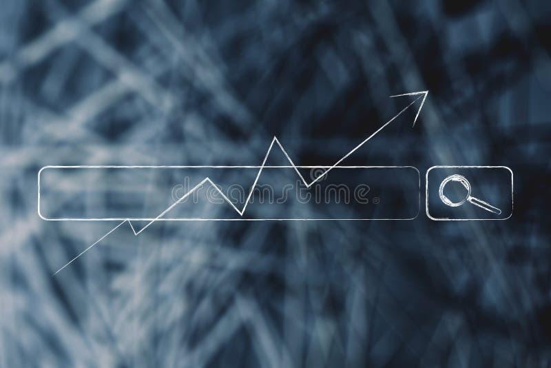 Seta do stats do crescimento que vai acima sobre a barra do Search Engine ilustração do vetor