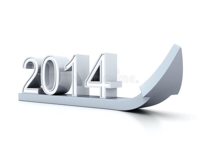 A seta do sucesso 3D do conceito com ano 2014 numera apontar acima ilustração stock