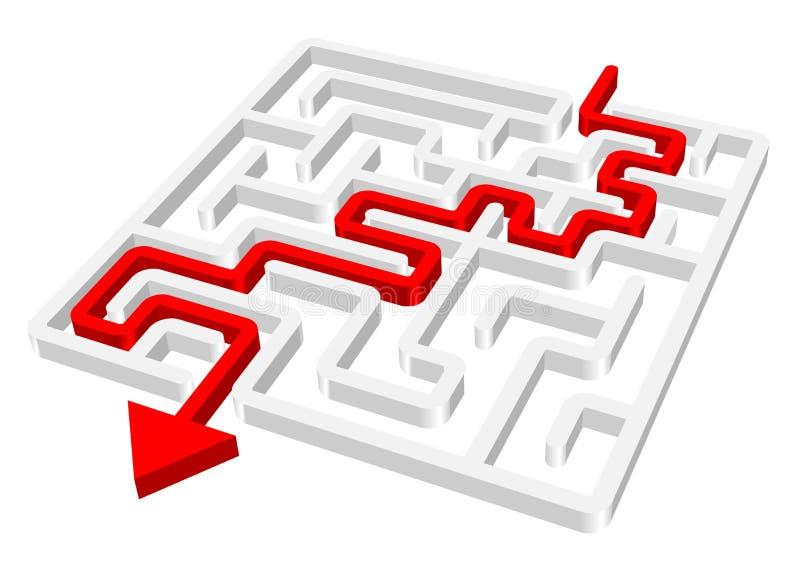 Seta do vermelho do labirinto 3d do labirinto ilustração do vetor