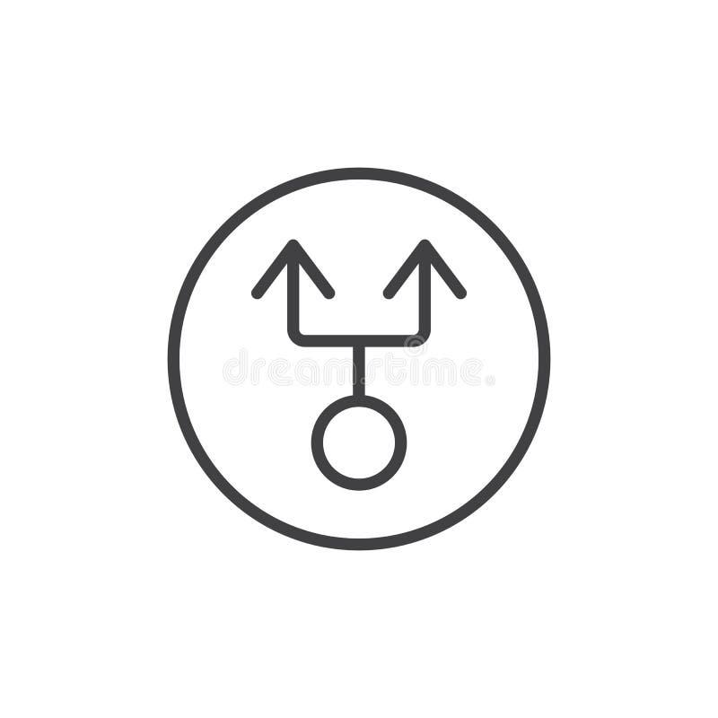 Seta dobro da linha ícone do círculo ilustração stock