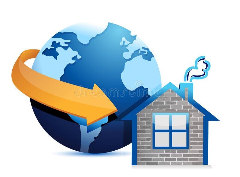 Seta e casa do globo ilustração do vetor