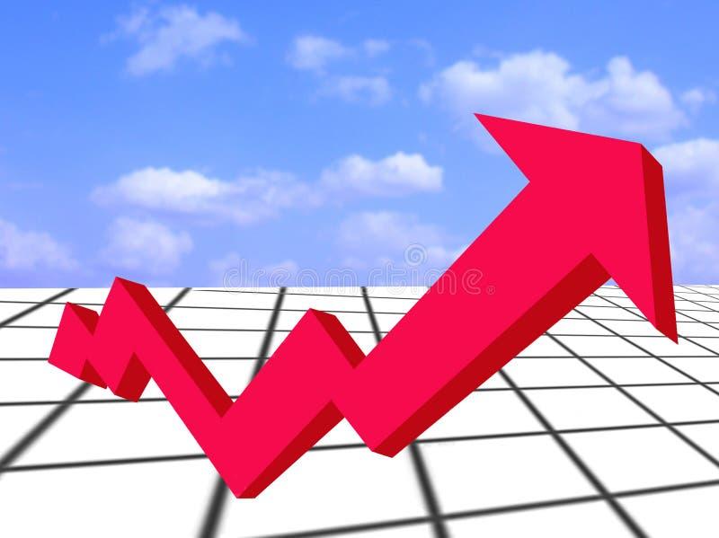 Seta e gráfico Crescimento-vermelhos financeiros ilustração royalty free