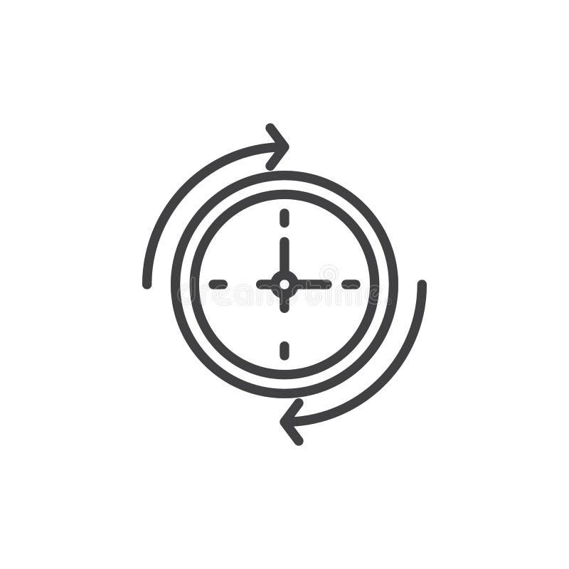 Seta em torno da linha ícone do pulso de disparo de parede ilustração royalty free